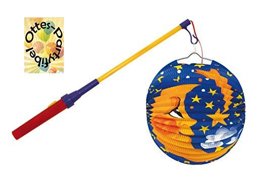 HHO Laternenset : LED Laternenstab Leuchtstab + Ballonlaterne Lampion Mond