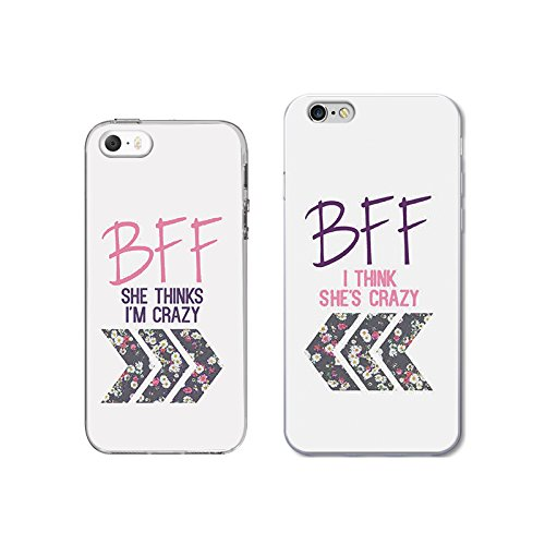 iPhone 5+6 6S Couple Case for Best Friend-TTOTT Floral Crazy Best friend BFF Ultra-Slim Bumper Protective Back Case for iPhone [Left for iPhone 5 5S SE Right for iPhone6 6S]