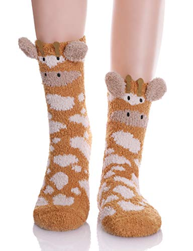 YEBING Damen super weich fuzzy 3d niedlichen tier cartoon-winter-warmer slipper socke 43626 giraffe
