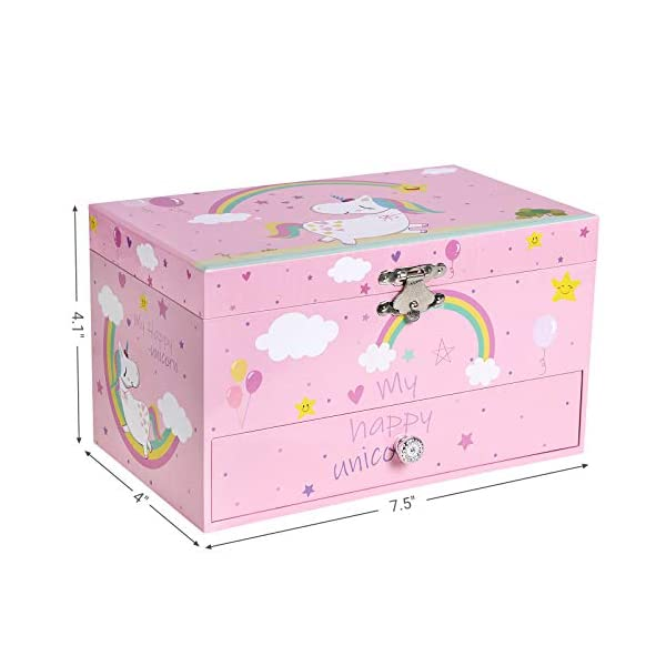 """SONGMICS Unicorn Ballerina Jewelry, Music Box with Pullout Drawer, Ring Slots and Divided Compartments, 7.5""""L x 4.3""""W x… 5"""