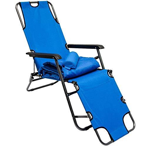Tumbona Plegable   Cómoda Silla de Playa con Acolchada Amovible 178 cm + Reposacabezas + Reposapiernas + Respaldo Reclinable   Azul