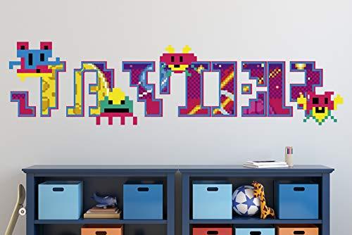 Pixel Arcade Calcomanías de Vinilo Personalizadas con Nombre Pegatinas de Letras Calcomanías de Pared KA627 (Gigante (ancho 50 'x 14' alto))