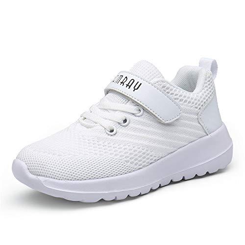 Zapatos Deportivos Infantil Zapatillas Running Niño Sneakers Gimnasia Al Aire Muchachas Calzado Atletismo Ligero Respirable Niña Unisex Blanco-A 27