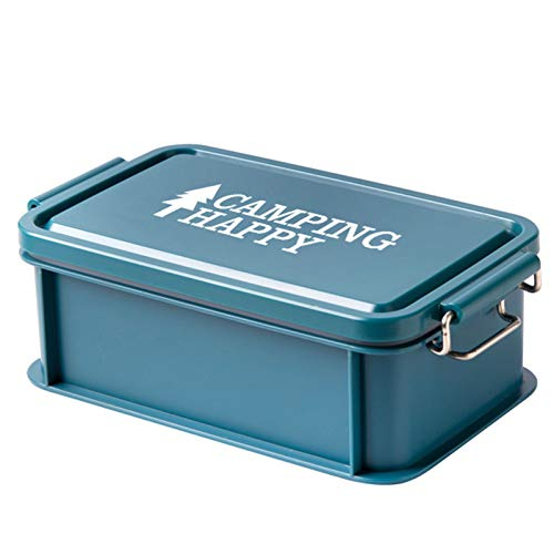 Caja de Almuerzo Prueba de Fugas con Tapa de Plástico BPA-Free Caja de Almuerzo de Estilo japonés Fiambrera Hermetica,Azul