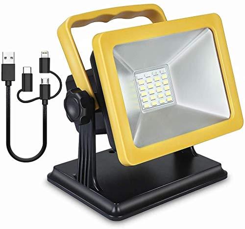 Foco Led Bateria Luces de Trabajo Recargables de 15W LED, iluminación portátil de 1000lm con Soporte magnético, 3 en 1 Puerto USB, 4400mAh Power Bank, Modo SOS Iluminación de Emergencia LQHZWYC