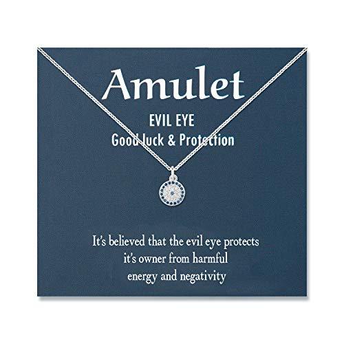 Shonyin Evil Eye Pendant Necklace for Women Silver...