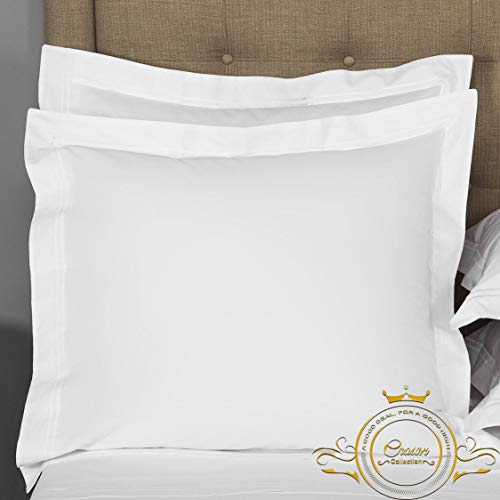 Crown Collection White Solid European Square Pillow Shams Set of 2 pc - Hypoallergenic 600-TC 100% Egyptian Cotton Decorative European Pillow Sham (European 26x26, White)