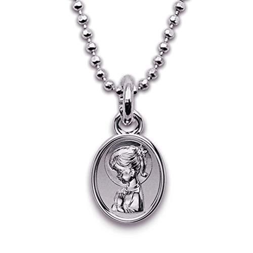 Medalla Religiosa - Medalla Mini Virgen Niña con Coleta 6x8 mm con Cadena Diamantada 40 cm. Plata de Ley 925 milésimas.