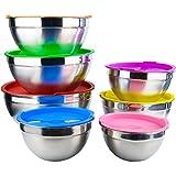 Daiweier Actualizado Ensaladera Set De 7, Boles para Mezclar De Acero Inoxidable Multicolor con Tapas Apilable para Tazones