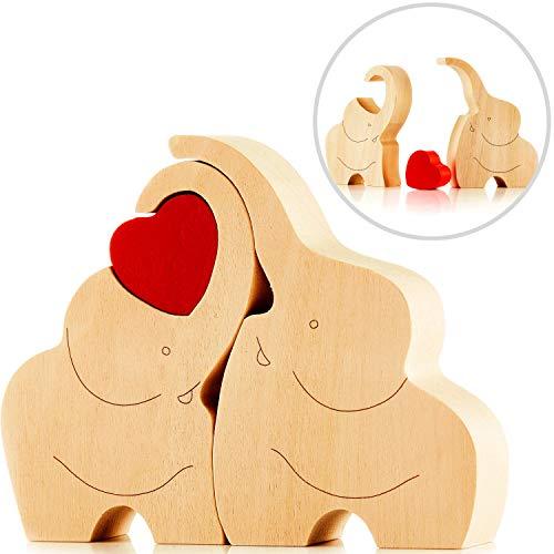 Encantadora figura de madera de una pareja de elefantes con corazón rojo – regalo decorativo de elefantes de madera