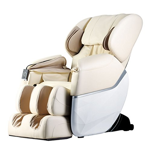 Electric Full Body Shiatsu Massage Chair Foot Roller Zero Gravity w/Heat … (Beige)