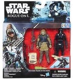 Figura de acción de Hasbro B7259 Star Wars Rogue Una batalla 2-Pack 10 cm de base, comandante rebelde: Amazon.es: Juguetes y juegos
