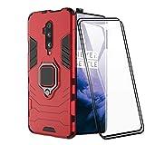 XIFAN Hülle für OnePlus 7T Pro [Strapazierfähig] Ring Ständer, [Funktioniert Mit Magnetischer Autohalterung] Case Schutzhülle, Rot + 2 Pack Panzerglas