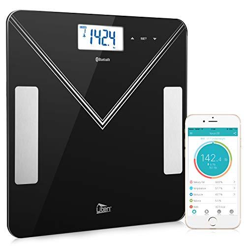 Uten Bluetooth Body Fat Scale - Smart Digital BMI Scale, Bathroom Wireless Weight Scale, Body Composition Analyzer with Smartphone App 400 lbs - Black