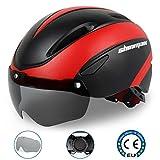 Shinmax Casco Bici, Certificato CE, Casco Bicicletta con Occhiali magnetici Rimovibili Scudo Protettivo per Uomo Donna Montagna e Strada Protezione di Sicurezza Regolabile per Adulti Sci e Snowboard