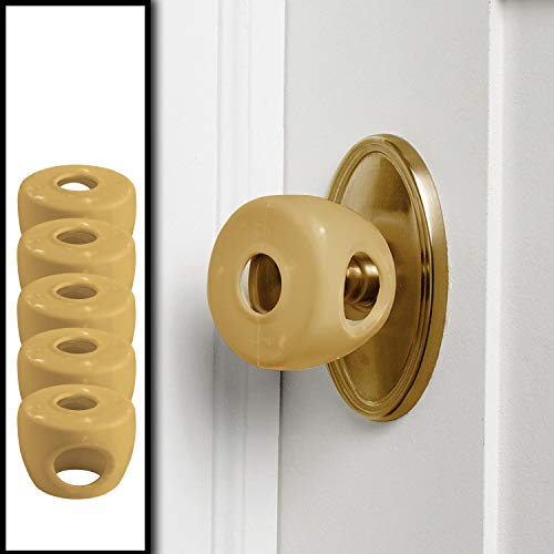 Gold - Door knob Baby Safety Cover - 5 Pack - Deter Little Kids from Opening Doors with A Child Proof Door Handle Lock - Driddle