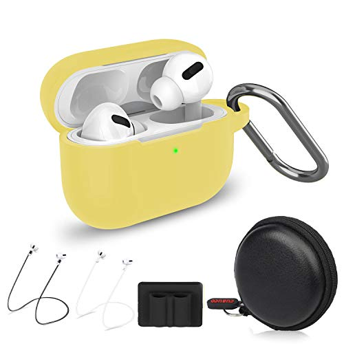 Cuauco Airpods Pro Case,Protective Silicone Cover for AirPods Pro(2019 Release)(Front LED Visible),with 1 Keychain/ 2 Strap/1 Watch Band Holder/1 Headphone Case for Apple AirPods Pro(6 Pack)(Yellow)