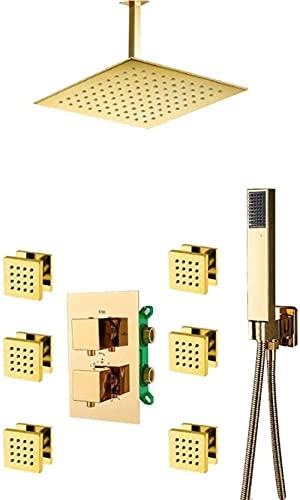 ZNMY Sistema de Ducha Juego de grifos termostáticos de Ducha Dorados de 3 vías, Grifo Mezclador termostático Dorado Integrado con 6 Piezas de chorros de Masaje, Juego de Ducha de baño, 10 Pulgadas