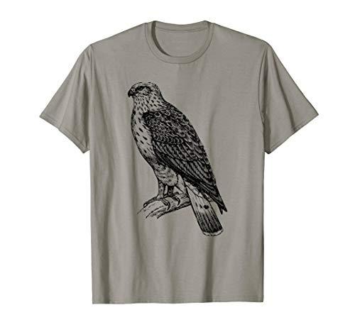 Hawk T-Shirt Ornithology Tee Shirt Black Line Drawing