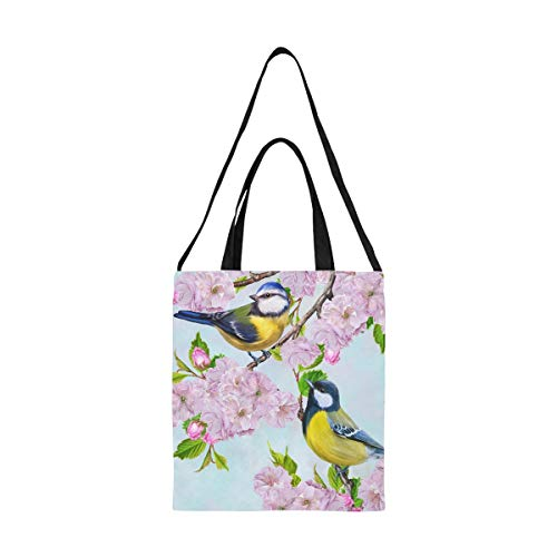 Bolsa de herramientas de lona Dos pájaros pequeños Tit en la rama Linda bolsa de supermercado Bolsa de maquillaje de lona Imprimir Gran tamaño Simple Hombro Crossbody Strap Work School Shopper