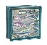 6 piezas BM bloques de vidrio AGUA perla indigo 19x19x8 cm
