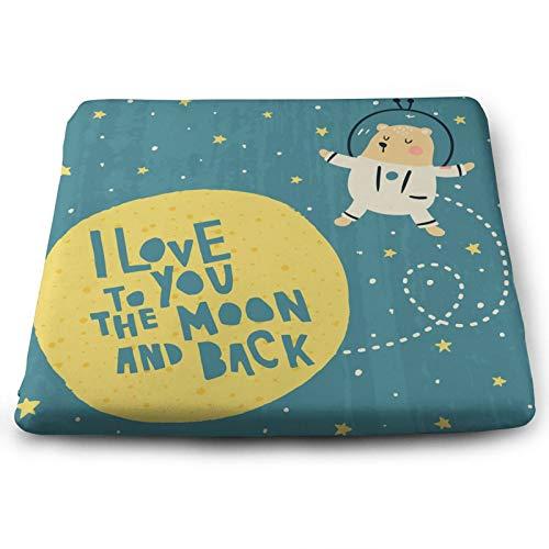 Cojín para silla con texto en inglés 'I Love You To The Moon And Back' con texto en inglés 'Bear Space Slogan Star Cite' (espuma viscoelástica, antideslizante, 38 x 30 cm)