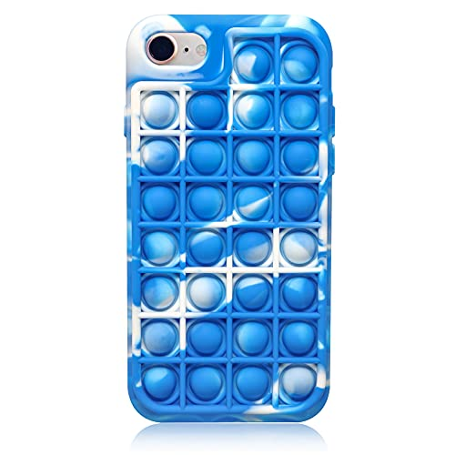 Push Pop Bubble Toy Case for iPhone 7/8, CCOZN Fidget Block Toys Bubble Wrap Silicone Phone Case Push Pop Stress Reliever Drop Protection Silicone Case for iPhone 7/iPhone 8, 4.7in (Gradient Blue)
