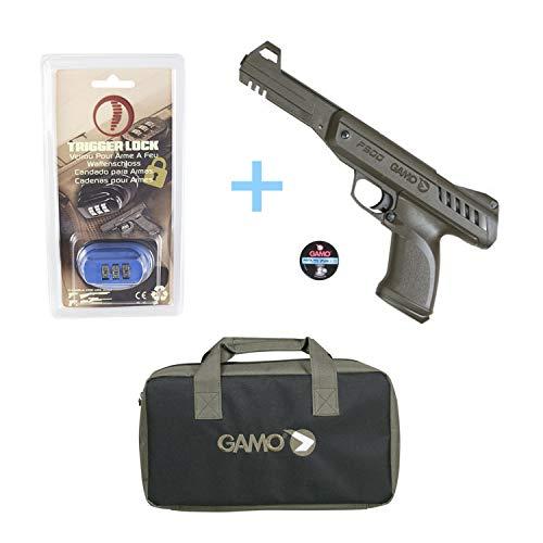 Gamo Pack Jungle Pistola de Aire comprimido P-900, Potencia de 3,5 Julios, Pistolas de balines Calibre 4,5 mm + Candado de Seguridad Yatek + Porta Armas (Funda Plomos 4,5 mm.