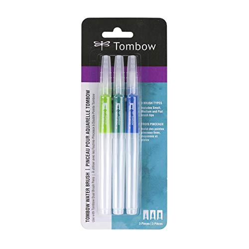 Tombow 56253 Water Brush, 3-Pack. Easily Blend Water-Based Markers, Watercolor Paint, and More with 3 Flexible Brush Tips