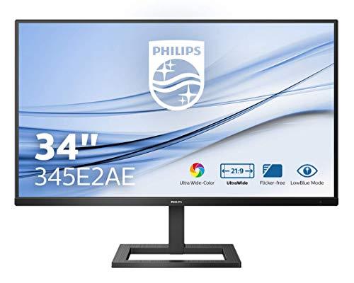 Philips 345E2AE 83 cm (34 Zoll) Gaming Monitor (HDMI, DisplayPort, 4ms Reaktionszeit, 3440 x 1440, 75 Hertz, FreeSync) schwarz
