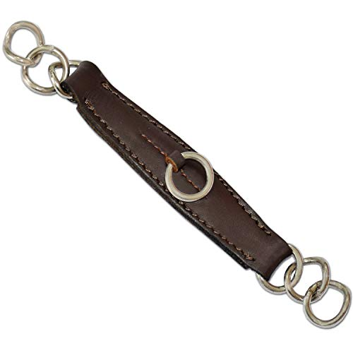 322 Brown Leather Curb Chain Strap Cowhide Leather Stainless Steel Rings
