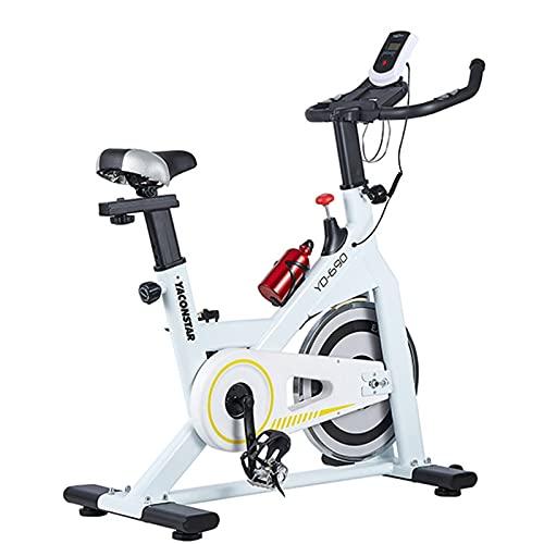 Spinning Bike Bicicleta Estática para Casa, Bicicleta Estacionaria De Ciclismo Indoor con Resistencia Ajustable, Equipo De Entrenamiento De Gimnasio En Casa, Blanco