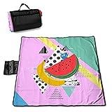 HYZXK Fondo Colorido de Moda con Manta de Picnic de sandía y plátano, Manta de Picnic al Aire Libre, Lavable, Plegable, Impermeable, para Picnic, Camping, Playa, tamaño Grande 57 * 59 PU