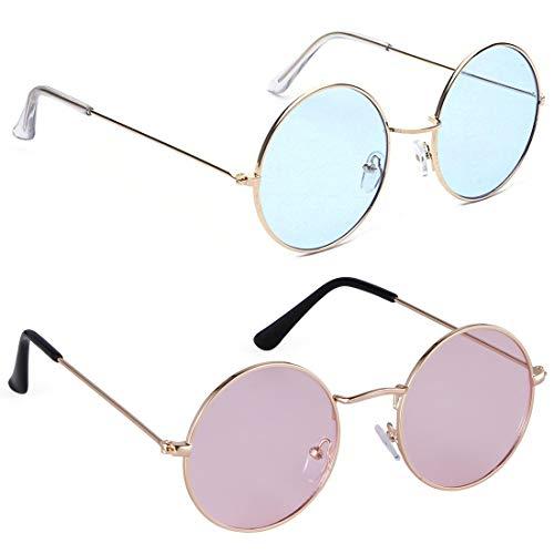 Phenomenal Round Unisex Sunglasses pack of 2 (Blue:Pink)
