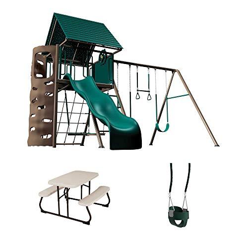 Lifetime 90188 Swing Set, Children's Picnic Table & Bucket Swing Bundle, Earthtone