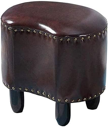 ZGYZ Moderne Möbel Oval gepolsterte Holz Sitzhocker, Fußstütze Ottoman Pouffe Stuhl Fußhocker mit Kunstöl Wachs Lederbezug, für Wohnzimmer, Schlafzimmer & Büro (Braun)