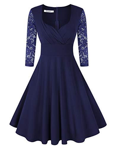KOJOOIN Damen 50er Vintage Kleid Retro/Cocktailkleid/Abendkleid/Ballkleid Rockabilly V-Ausschnitt Kleid Knielang Langarm Navyblau Dunkelblau M