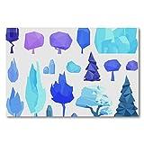 Póster de pared con diseño de árbol de invierno y piedras sobre lienzo con marco para cocina, dormitorio, decoración del hogar, diseño clásico moderno, 50 x 70 cm