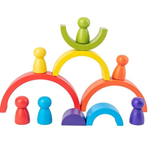 Ydq Apilador Geométrico Jenga Juguete | DIY Apilamiento de Arcoiris de Madera Montessori Educational Clasificador Toy | Rainbow Development Nesting Blocks Juego para Niños
