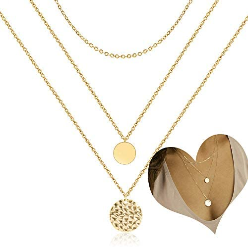 Coin Pendant Layered Necklace Choker Whit Exquisite Crescent Gold Necklace for Women Lady Girls product image