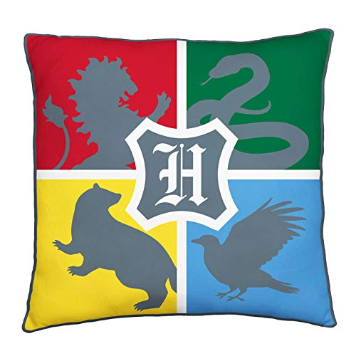 Character World Harry Potter Official Square Cushion Pillow | Officially Licensed Super Soft Two Sided Hogwarts | Perfect for Any Children's Room Or Bedroom, Grey, 40 x 40cm