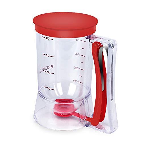 BBSTARZ Batter separator Cupcakes Pancakes Cookie Cake Waffles Batter Dispenser cookie separator batter Cream Speratator Cup Measuring Baking Tools (red)