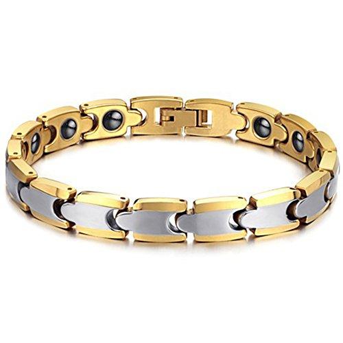 JewelryWe Schmuck Wolframcarbid Gesundheit Magnet Armband für Damen & Herren Magnetarmband Armreif Gold/Silber
