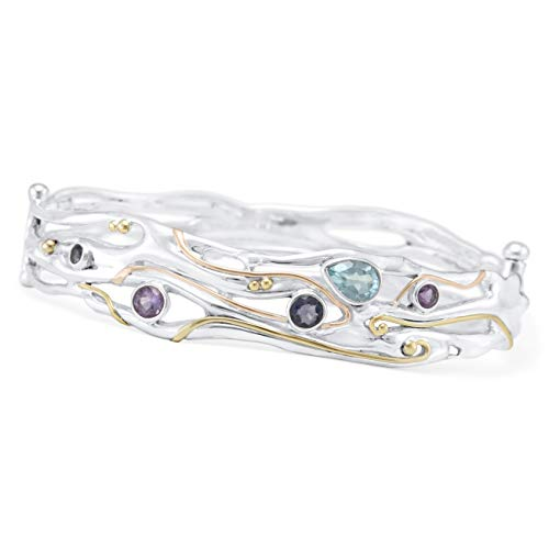Banyan Jewellery Women's 925 Sterling Silver Bangle with Blue Topaz, Iolite and Purple Amethyst