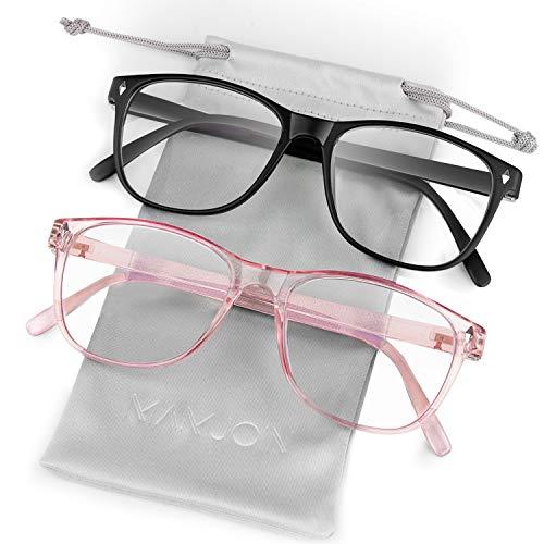Mamjoin Computer Glasses, Anti Eye Strain Blue Light Blocking Glasses Clear Lens Square Eyeglasses Frame for Men Women Youth Computer Reading Gaming, 2 Pack Black and Pink