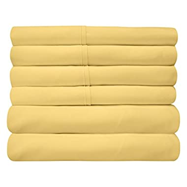 Sweet Home Collection 6Piece 1500 Threadcount  Deep Pocket Bed Sheet Set - 2 Extra Pillow Cases, Great Value -King, Yellow