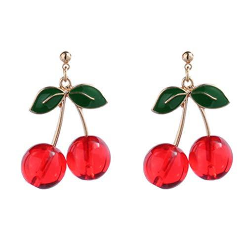 Orecchini a perno a forma di frutta, placcati in oro 18 K, con ciondolo a forma di foglia verde e ciliegia rossa