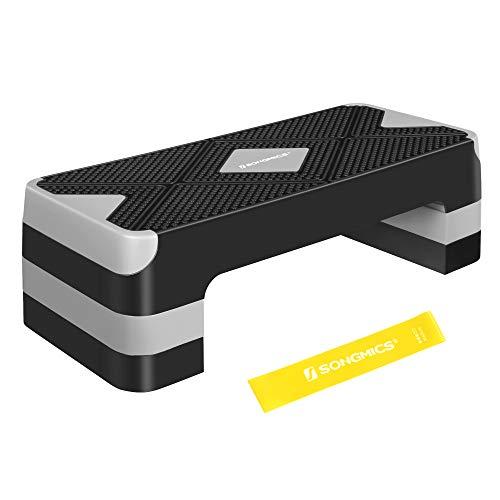 SONGMICS Step de fitness avec bande élastique de fitness, Stepper d'aérobic 68 x 27 cm, réglable sur 3 hauteurs, Marche d'exercice, pour fitness à la maison et au bureau, Noir et Gris STE684G01