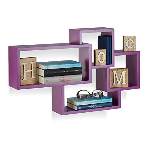 Relaxdays Wandregal Cube, 4 Fächer, Freischwebend, Modernes Design, Dekorativ, Belastbar, MDF, HBT: 42x69x12cm, Violett