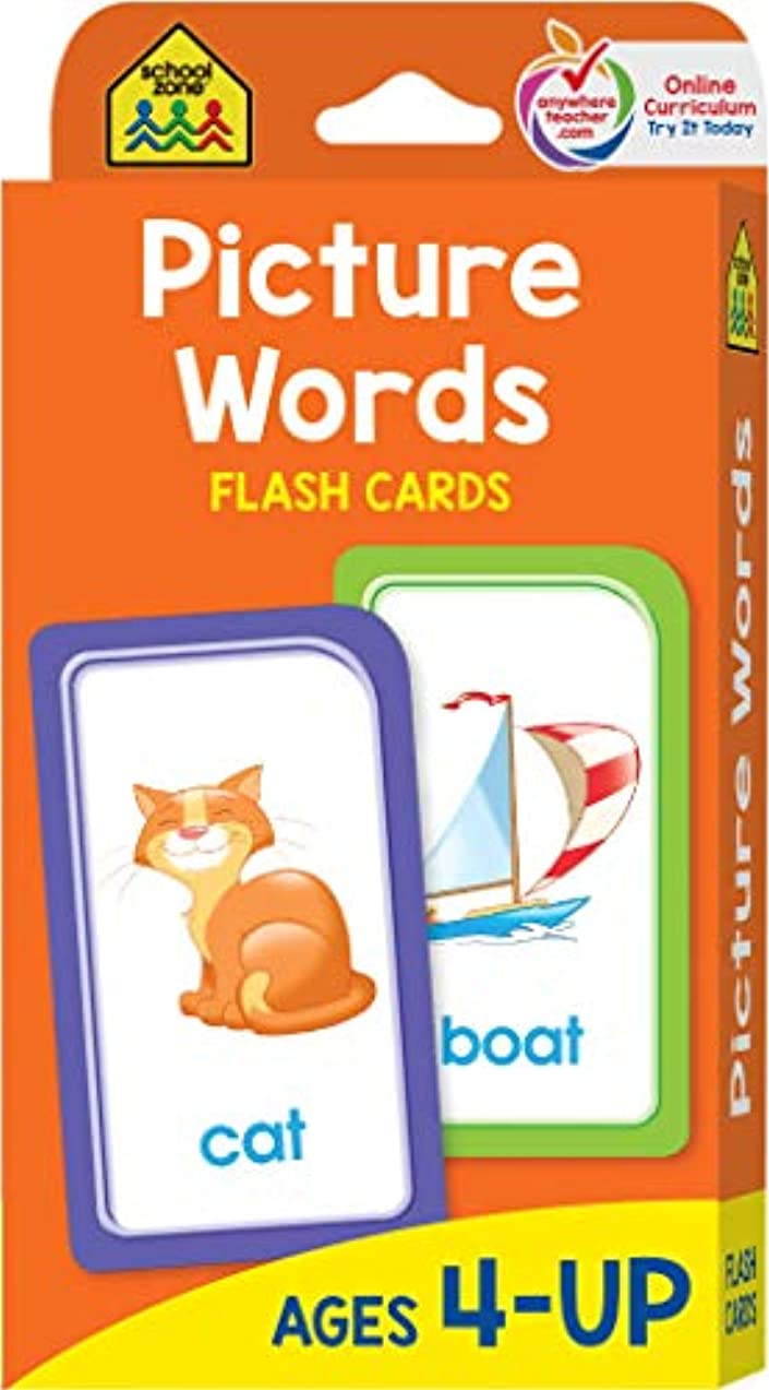 School Zone - Picture Words Flash Cards - Ages 4 and Up, Preschool to Kindergarten, Phonics, Early Reading Words, Sight Words, Word-Picture Recognition, and More